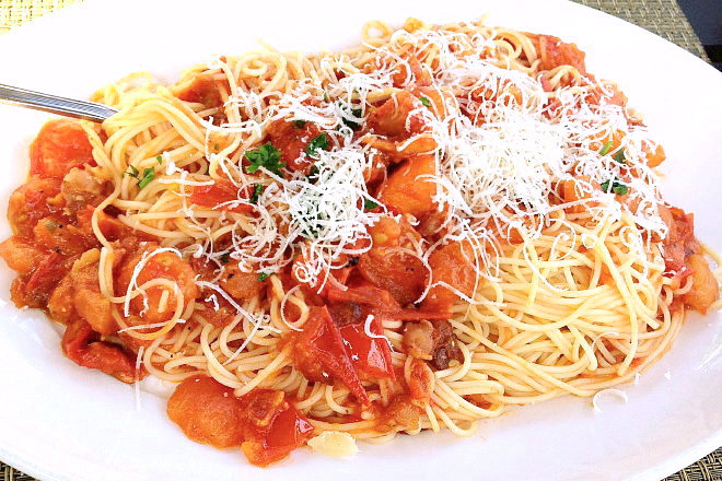 photo of capellini amatriciana with guanciale from Allora Ristorante, Marlborough, MA