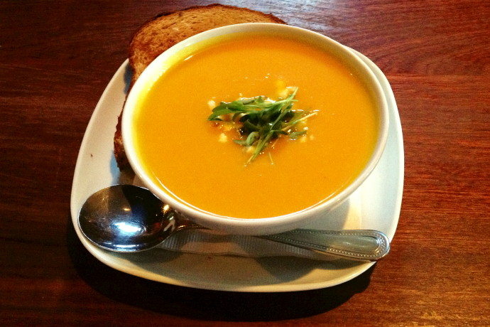 photo of carrot parsnip ginger soup from Armsby Abbey, Worcester, MA