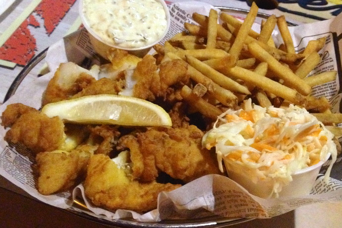 photo of fish and chips from Barefoot Bob's Beach Grill, Hull, MA (from hiddenboston.com)