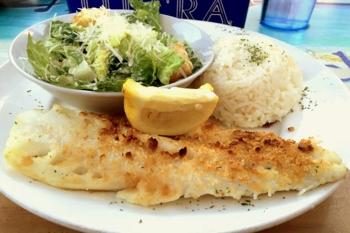 photo of baked haddock from Barefoot Bob's Beach Grill, Hull, MA (from hiddenboston.com)