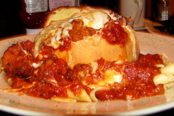 photo of chicken parmesan bread bowl from Coop's Bar and Grille, Quincy, MA