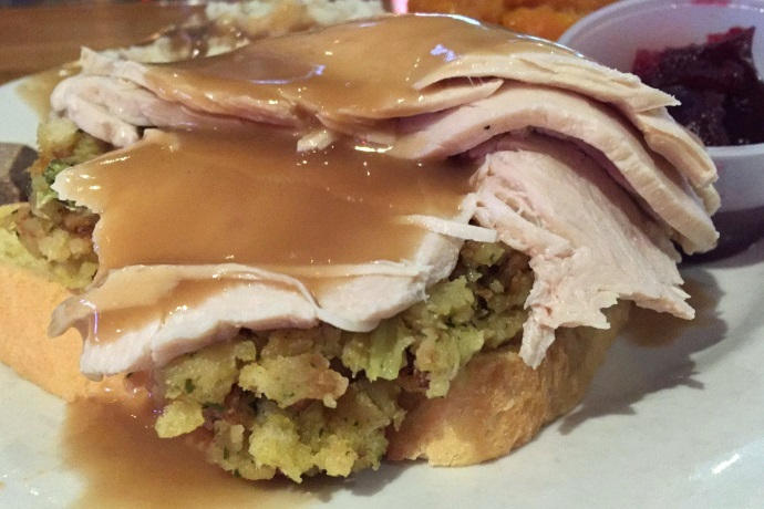 photo of open-faced turkey dinner from Coop's Bar and Grille, Quincy, MA