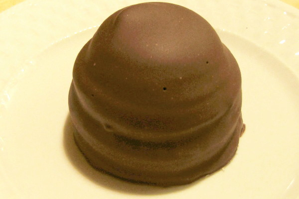 photo of flodebolle (chocolate-dipped marzipan cookie with marshmallow) from Danish Pastry House, Medford, MA