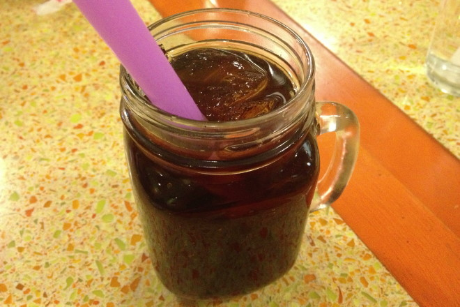 photo of a grass jelly drink from Dok Bua, Brookline, MA