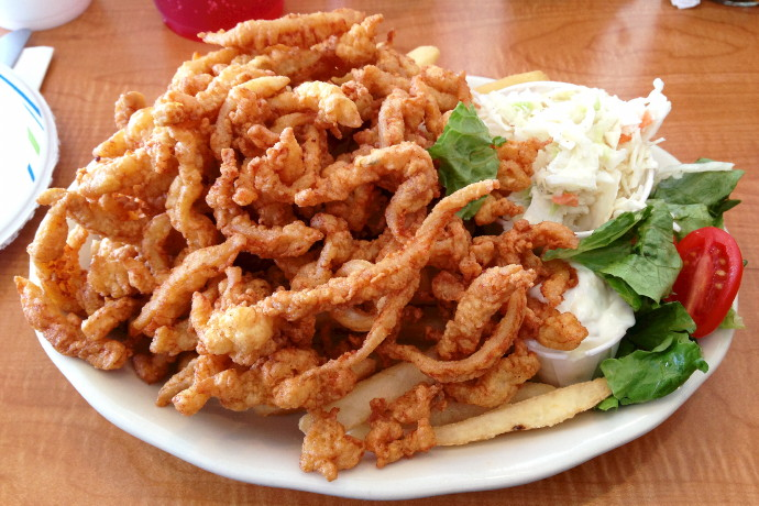 photo of clam strips from Evelyn's Drive-In, Tiverton, RI
