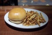 photo of burger and fries at Flat Patties, Cambridge, Massachusetts
