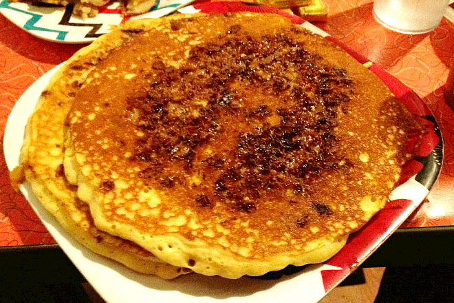 photo of pancakes with toffee crumbles from The Friendly Toast, Cambridge, MA