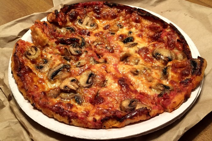 photo of mushroom pizza from Hoey's Pizza, Randolph, MA
