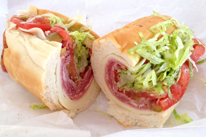 photo of an Italian sub from Lambert's, Dorchester, MA