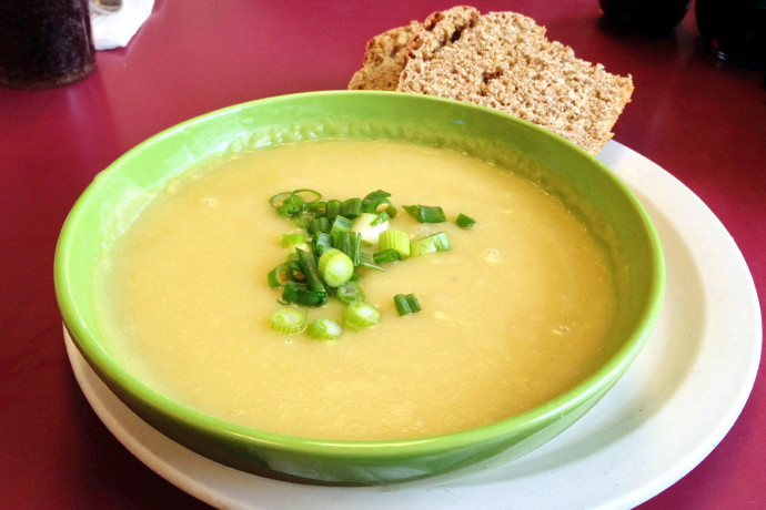 photo of potato leek soup from the Mad Hatter Cafe, Weymouth, MA