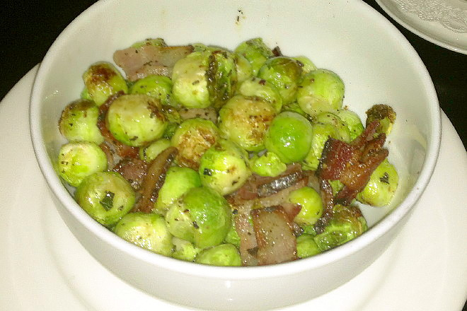 photo of Brussels sprouts roasted in bacon fat from Marliave, Boston, MA