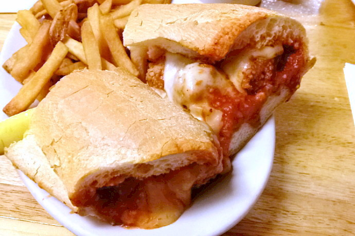 photo of a meatball sub from McKenna's Cafe, Dorchester, MA