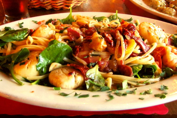photo of pasta and seafood plate from Mezzo Mare, Hull, MA