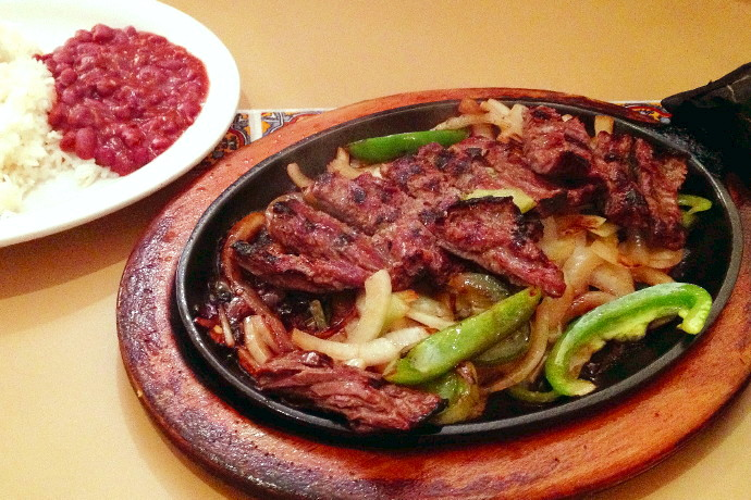 photo of beef fajitas from Mi Pueblito, East Boston, MA (from hiddenboston.com)