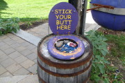 photo of cigarette receptacle at Moat Mountain Smokehouse and Brewing Company in North Conway, NH