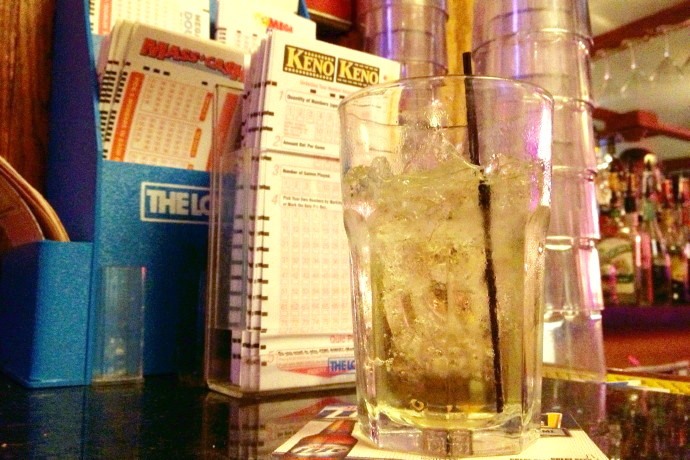 photo of scotch, Keno, and The Lottery in the bar section of the Mount Vernon, Somerville, MA