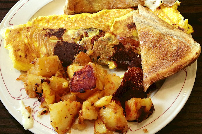 photo of hash omelet from Olympian Diner and Restaurant, Braintree, MA