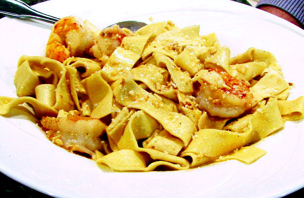 photo of shrimp scampi pappardelle from the Pasta Market Cafe, Malden, MA