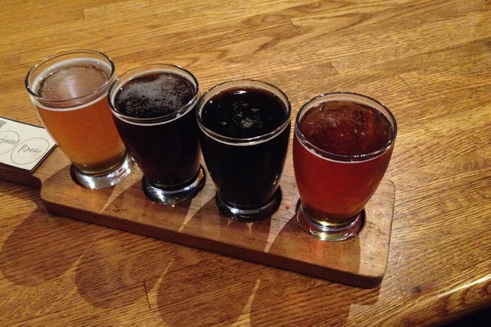 photo of a beer flight from the People's Pint, Greenfield, MA