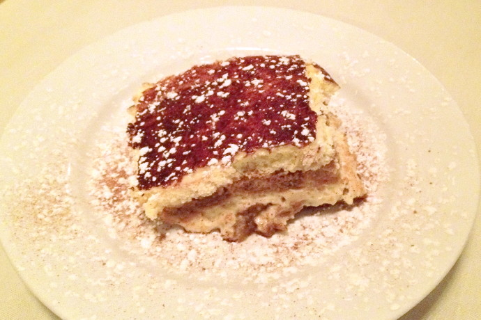 photo of tiramisu from Pescatore, Somerville, MA
