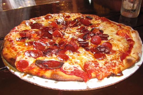 photo of pepperoni pizza from the Pizza Barn, Center Ossipee, NH