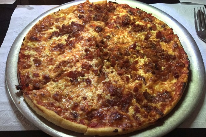 photo of bacon and feta pizza from Poopsie's, Pembroke, MA