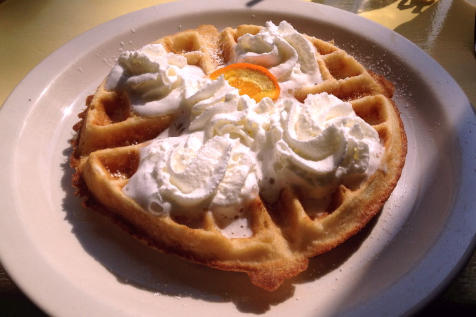 photo of a waffle from Renee's Cafe, Somerville, MA