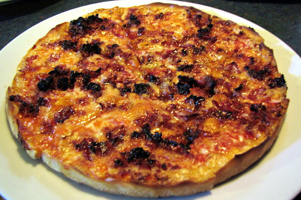 photo of bacon pizza (bar pizza) from Spencer's Pizza, Abington, MA