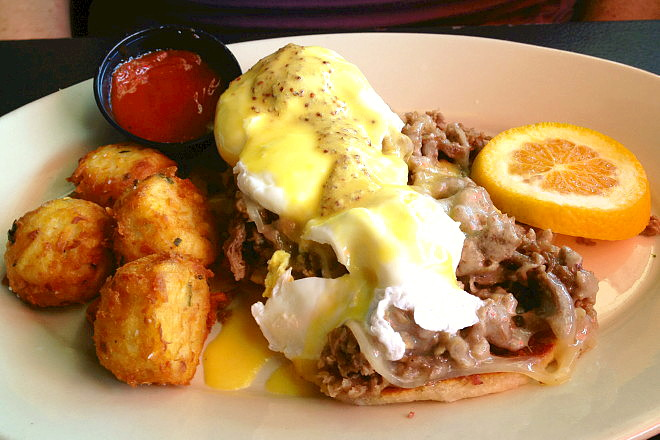 photo of steak and cheese benedict from Stars, Hingham, MA