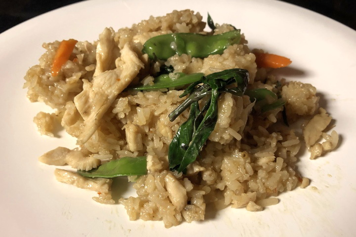 photo of chicken basil fried rice from Thai Moon, Arlington, MA