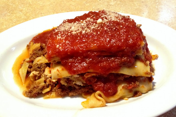 photo of lasagna from The Restaurant, Woburn, MA