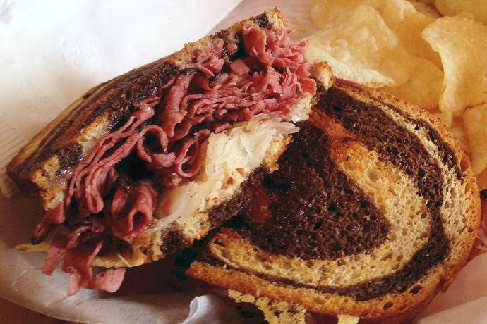 photo of pastrami reuben from the Vanilla Bean Cafe, Pomfret, CT
