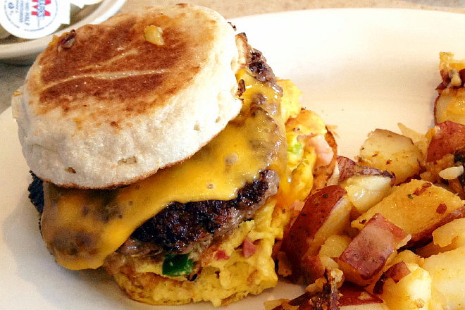 photo of breakfast burger from Victoria's Diner, Boston, MA