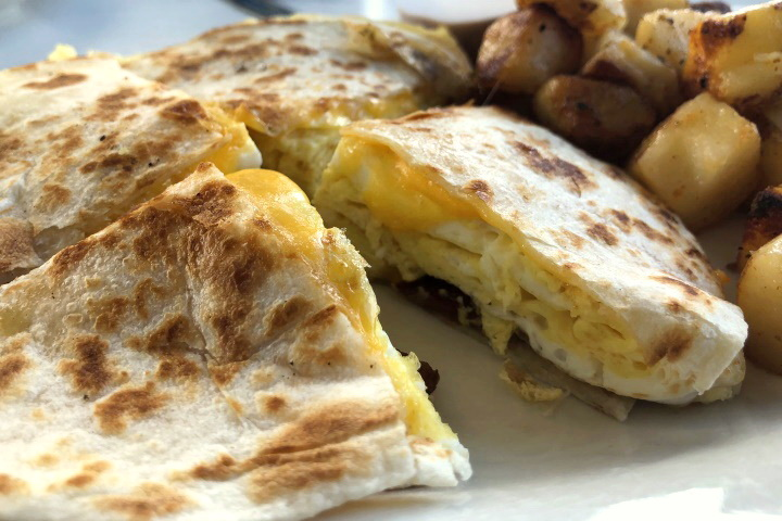 photo of a breakfast quesadilla from Victoria's Diner, Boston, MA